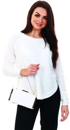 Only White / Cloud Dancer Loose Fit Knitted Pullover  - Click to view a larger image