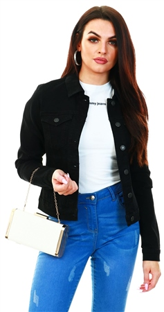 Veromoda Black / Black Short Denim Jacket  - Click to view a larger image