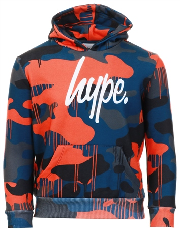 Hype Multi Camo Drips Script Kids Pullover Hoodie  - Click to view a larger image
