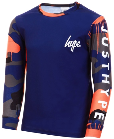 Hype Navy Camo Drips Kids L/S T-Shirt  - Click to view a larger image