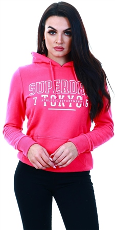 Superdry Fuschia/Pink Track & Field Hoodie  - Click to view a larger image