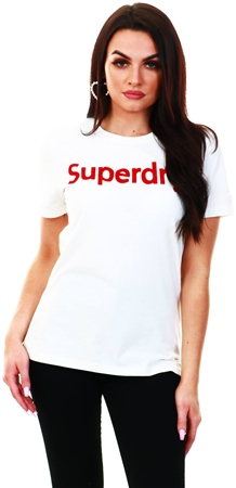 Superdry Chalk White Flock T-Shirt  - Click to view a larger image