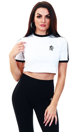 Gym King White Ringer Crop T-Shirt  - Click to view a larger image