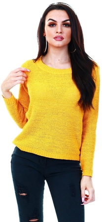 Only Yellow / Mango Mojito Texture Knitted Pullover  - Click to view a larger image
