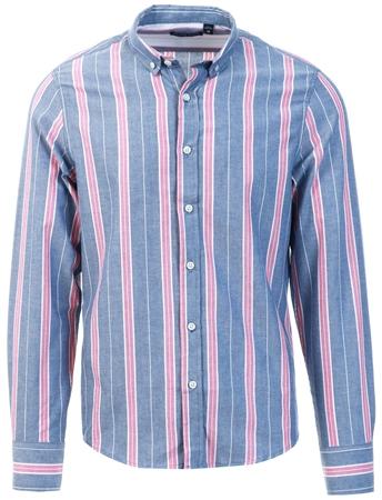 Brave Soul Light Blue Stripe Long Sleeve Shirt  - Click to view a larger image