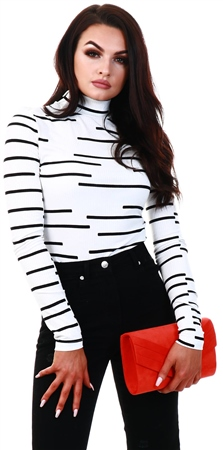 Noisy May Bright White / Black High Neck Rib Body  - Click to view a larger image