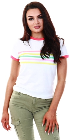 Brave Soul White Rainbow Print Ringer T-Shirt  - Click to view a larger image