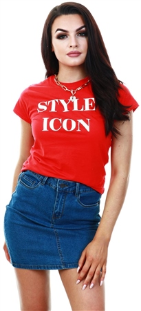 Missi London Red Slogan Print T-Shirt  - Click to view a larger image