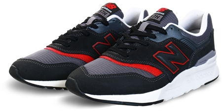 New Balance Black With Grey & Red 997h Mesh Trainer  - Click to view a larger image