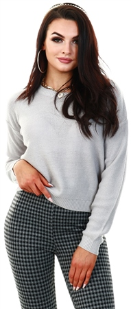 Brave Soul Crystal Grey Grunge Knit Jumper  - Click to view a larger image