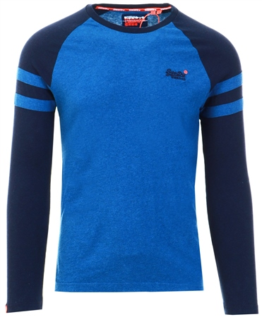 Superdry Rich Blue Marl Organic Cotton Orange Label Softball Ringer Top  - Click to view a larger image