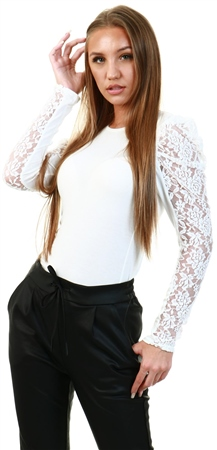 Parisian Cream Lace Puffed Sleeve Top  - Click to view a larger image