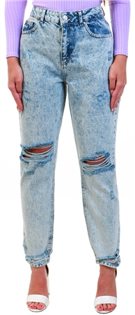 Noisy May Blue / Light Blue Denim High Waist Loose Fit Jeans  - Click to view a larger image