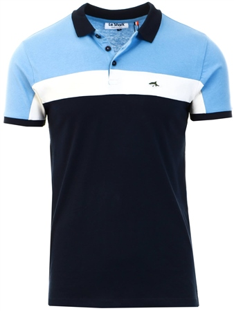 Le Shark Blue Herny Colour Block Polo Shirt  - Click to view a larger image