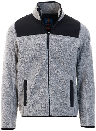 Tokyo Laundry Ghost Grey Southwell Teddy Borg Fleece Funnel Neck Hoody  - Click to view a larger image
