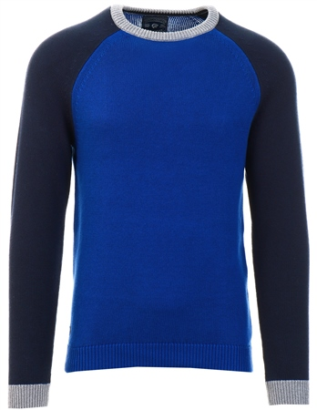 Tokyo Laundry Mazzzrine Blue Moffatt Raglan Sleeve Cotton Knit Jumper  - Click to view a larger image