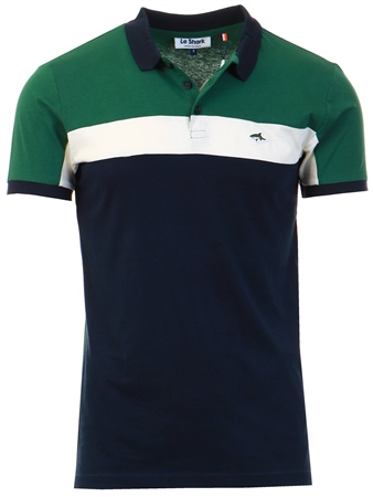 Le Shark Green Herny Colour Block Polo Shirt  - Click to view a larger image