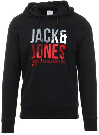 Jack & Jones Black / Black Logo Print Hoodie  - Click to view a larger image
