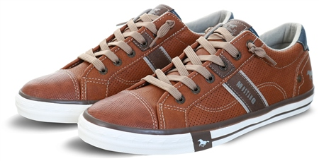 Mustang Cognac / Brown Lace Up Texture Shoe  - Click to view a larger image