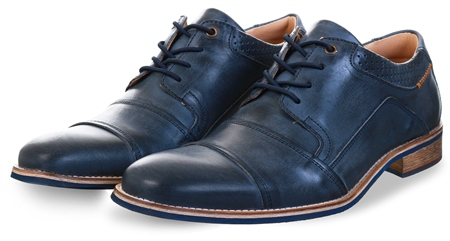 Bull Boxer Blue Leather Lace Up Shoe  - Click to view a larger image