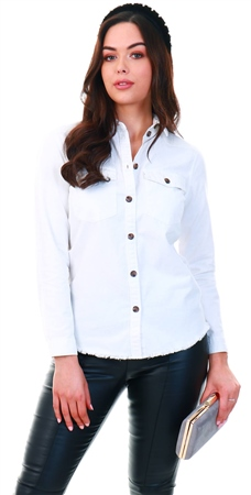 Jdy White / White Denim Shirt  - Click to view a larger image