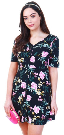Veromoda Black / Floral Printed Dress  - Click to view a larger image