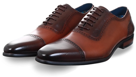 Paolo Vandini Tan Lace Up Brogue Shoe  - Click to view a larger image
