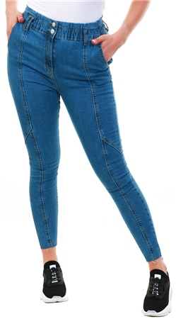 Parisian Medium Blue Wash Skinny Fit Paperbag Frayed Jean  - Click to view a larger image
