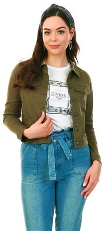 Veromoda Green / Ivy Green Short Denim Jacket  - Click to view a larger image