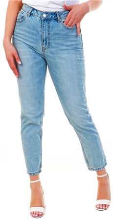 Veromoda Blue / Medium Blue Denim High Wasited Loose Fit Jeans  - Click to view a larger image
