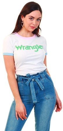 Wrangler Real White Ringer Tee  - Click to view a larger image