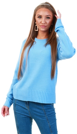 Qed Blue Knit Crew Jumper  - Click to view a larger image