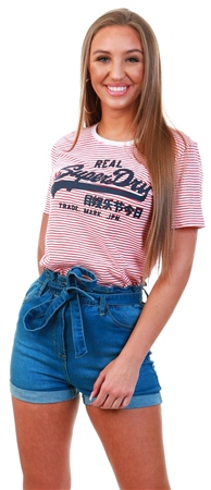 Superdry Optic/Fusion Coral Stripe Vintage Logo Stripe T-Shirt  - Click to view a larger image