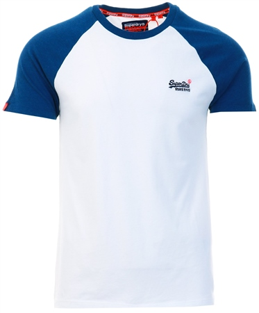 Superdry White Orange Label Short Sleeved Baseball T-Shirt  - Click to view a larger image