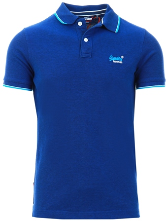 Superdry Rich Navy Poolside Pique Polo Shirt  - Click to view a larger image