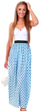 Only Cashmere Blue Printed Pleated Midi Skirt  - Click to view a larger image
