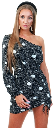 Ax Paris Black Printed One Sleeve Ruched Dress  - Click to view a larger image