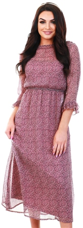 Jdy Pink / Wistful Mauve Printed Maxi Dress  - Click to view a larger image