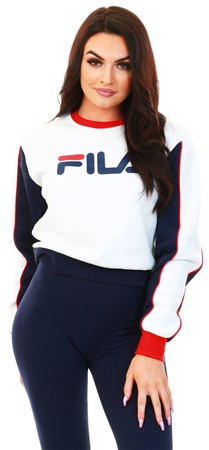Fila White/Red Nuria Logo Crop Sweatshirt  - Click to view a larger image