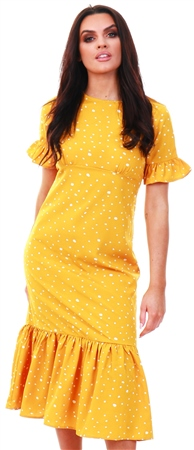 Qed Yellow Polka Dot Dress With Frill Hem  - Click to view a larger image