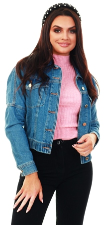 Only Blue / Medium Blue Denim Cropped Denim Jacket  - Click to view a larger image
