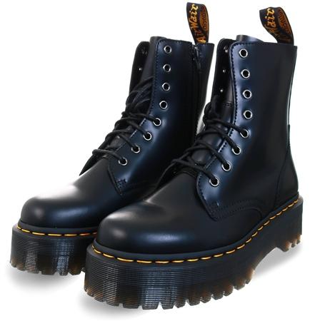 Dr Martens Black Jadon Hi Leather Platform Boots  - Click to view a larger image