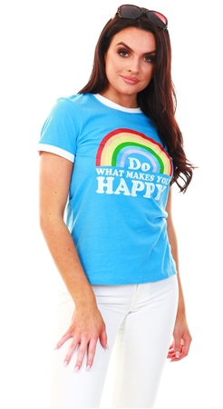 Brave Soul Mid Blue / White Happy Print Short Sleeve Tee  - Click to view a larger image