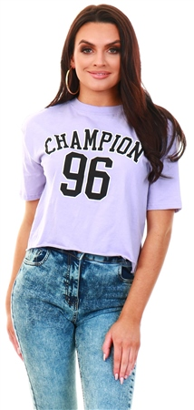 Brave Soul Lilac Printed Cropped T-Shirt  - Click to view a larger image