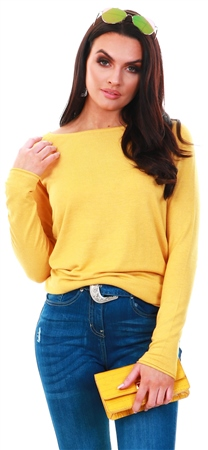 Only Yellow / Yolk Yellow Long Knitted Pullover  - Click to view a larger image