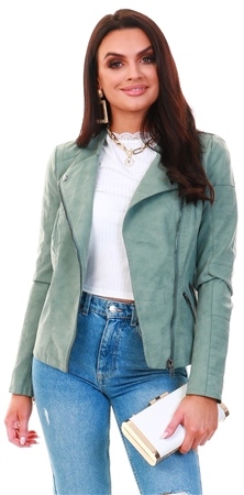Only Green / Chinois Green Faux Suede Biker Jacket  - Click to view a larger image