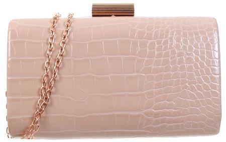 Koko Nude Croc Pu Clutch Bag  - Click to view a larger image