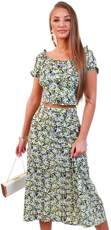 Brave Soul Black / Lime Floral Midi Skirt  - Click to view a larger image