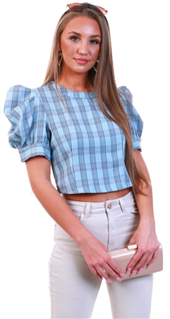 Qed Blue Check Pattern Puff Sleeve Top  - Click to view a larger image