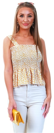 Brave Soul Yellow Floral Ruched Peplum Top  - Click to view a larger image